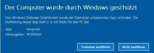 Der Computer wurde durch Windows geschützt