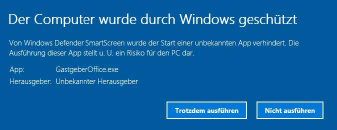 Windows Sicherheitswarnung - der Computer wurde duch Windows geschützt