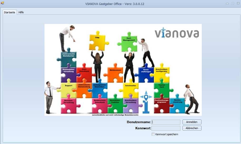 Startbildschirm der GastgeberOffice 3.0 Anwendung